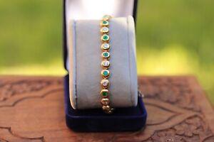 Bracelet diamants et émeraudes