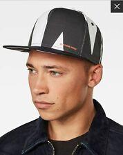 NWT G-Star Raw Estan 5-Panel Cap Black White Logo Hat Milk Art Deco One Size New