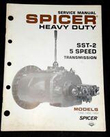Spicer SST-2 5 Speed Transmission Service Manual Models 1352 1452 1453 1982