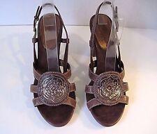 Cole Haan Brown Leather Insignia Slingback Heels Platform Sandal Size 9B