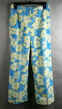 Original Vintage The Lilly Pulitzer Womens Sportswear Pants Blue Yellow Flower