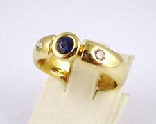 Echt Safir Brillant Ring 0,09ct Gold 585 14kt (LP1250€) NEU Safirring Goldring