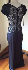 BRAND NEW Ladies Long Black Casual Dress full lace back size 8  FREE POST