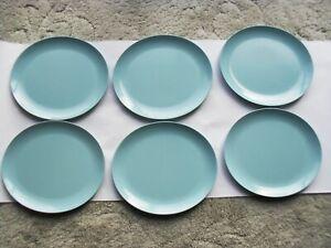 Six Vintage Gaydon Melmex Melamine  Retro Blue Oval Large Plates 10.25 inches