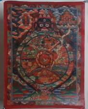 Charm Hand paint Thangka! WHEEL OF LIFE! Tibet Buddhist Tantra Prayer Auspicious
