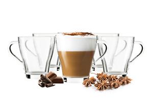 6 Cappuccino Tassen Kaffeegläser Teegläser 270ml und 6 Edelstahl-Löffel GRATIS