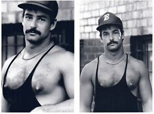 (2 4x6 PHOTOS!) Handsome Hairy Chest Mustache Male N Muscle Shirt Large Nipples