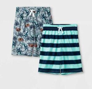 Cat & Jack Boy's 2 Pair Striped & Dinosaur Print Pajama Shorts Size XS (4/5)