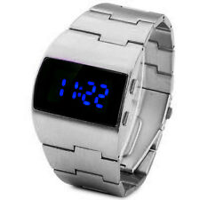 Neat Vintage Styling BLUE LED Steel Digital Fat Chunky Asymmetric Steel Watch
