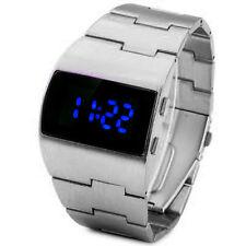 Cool Vintage Styling BLUE LED Steel Digital Fat Chunky Asymmetric Steel Watch