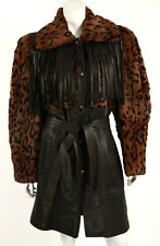 YVES SAINT LAURENT Vintage Leopard Print Sheared Fur & Leather Fringe Coat 40