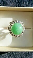 Genuine Light Geen 7.55ct Jadeite Jade (Type A) 925 Silver Ring SIZE Adjustable