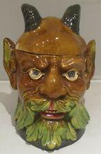 Rare Antique Majolica Devil Head Tobacco Jar