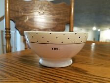 """RAE DUNN """" YUM"""" WHITE AND YELLOW WITH POLKA DOTS SOUP/CEREAL BOWL!  NEW"""