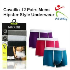 Cavailia 12 Pairs Mens Hipster Style Boxer Shorts Regular Underwear Trunks Brief