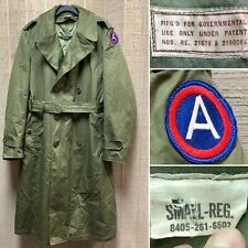 Us Army Vietnam Od Green Military Trench Coat w Wool Liner 8405 261 6502 Sm Reg
