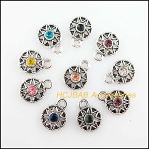 30 New Sun Charms Tibetan Silver Tone Retro Mixed Crystal Pendants 8x11mm