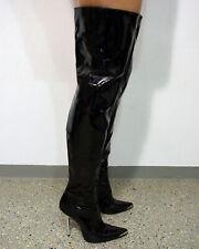 Stiletto Overknee Stiefel Größe 38,5 Lack schwarz F291