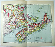 Maritime Provinces - Original 1889 Map. New Brunswick Nova Scotia PEI Canada