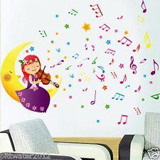 Princess Fairy Purple Girl Playing Violin on Moon Removable Wall Sticker Kids