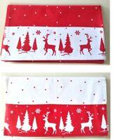150cm Christmas Cotton Red White Table Runner Reindeer Tree Xmas Table Decor