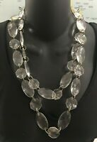 "VINTAGE CHUNKY CLEAR LONG LUCITE FACETED NECKLACE STATEMENT 50"" FLAPPER"