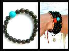 Native Healing Turquoise Beaded Wood Spirit Stretch Bracelet Unisex 7""