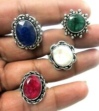 "Biwa Mother Of Pearl Mulit Gems 925 Silver Plated 4 Pcs Rings 7,8,9""US"