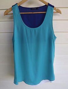 Portmans Size 10 - Women's Aqua Blue-Purple White Singlet Tank Top - Sleeveless