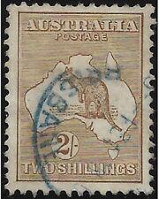 AUSTRALIA stamps 1913 kangaroo and map 2 shillings brown sg.12 used -F535