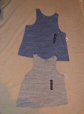 Women's SZ M sleeveless Gap 2 tops lot blue + gray cotton blend round neck
