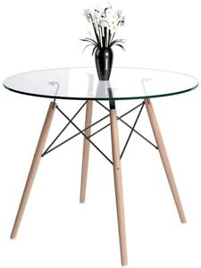Round Dining Table, Scandinavian Glass Top Kitchen Table with Solid Beech Legs