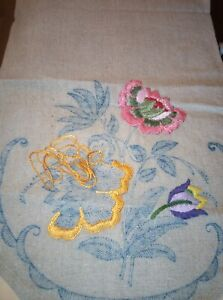 """Vintage chair back covers heavy linen part done 15"""" x 25"""" see all the pictures"""