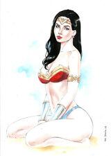 WONDER WOMAN 1 COLOR SEXY PINUP ART - ORIGINAL COMIC PAGE BY MARC HOLANDA