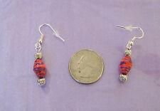 Red Hat Ladies - Red & Purple Paper Bead Pierced Earrings w/Fish Hooks & Stopper