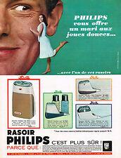 PUBLICITE ADVERTISING   1965   PHILIPS  rasoir