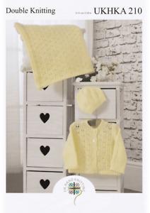 "UKHKA 210 Baby Cardigan, Blanket & Hat Knitting Pattern In DK 12-20"" (31-51cm)"