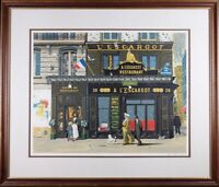"Bruce Bomberger Signed ""L'escargot"", Framed / Matt and Glass, Vintage Lithograph"