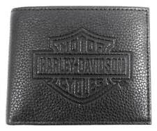 Harley-Davidson Mens B&S Embossed Pocketed Billfold Leather Wallet MSB8361-BLACK