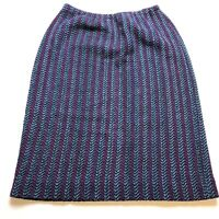 Vintage Made In Usa Wool Blend Knit Skirt Sz 16 Blue Purple Stripe A299