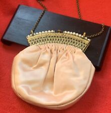 Pink Silk And Pearl Antique Coin Women's Purse, vintage 1950s or 60s hardly used