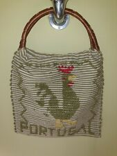 Original two sided vintage tapestry woven bag souvenir Portugal cane handles