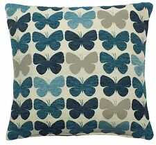 """2 X TEAL CREAM BUTTERFLY LUXURIOUS THICK CHENILLE CUSHION COVERS 17"""" - 43CM"""