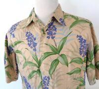 Reyn Spooner Large Hawaiian Shirt Blue Ginger Floral Button Up SS 100% Cotton