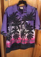 Bahama Mens Hawaiian Shirt Sz L Purple Short Sleeved Vintage