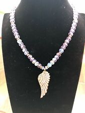 "Kirks Folly ""Fly Home Angel"" Necklace Purple Angel Wing NEW"