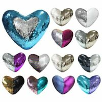 Heart Pillow Case Reversible Sequin Glitter Bed Cushion Throw Cover Home Décor