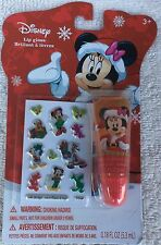 Disney Minnie Mouse Holiday Lip Gloss + Nail Sticker Strawberry Flavor Christmas