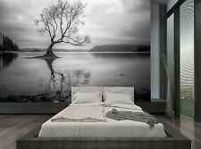 Black & White Nature Tree Lake River Wall Mural Photo Wallpaper GIANT WALL DECOR