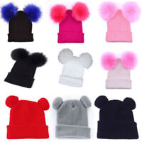 Women Double Pompom Beanie Ear Warm Knitted Hat Ladies Winter Crochet Bobble Cap